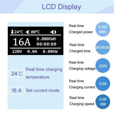 įkrovimo laidas 220V - type 1 ( 16A, 1 fazė 3,6 kW) su laiko funkcija 6