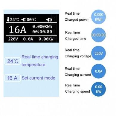 įkrovimo laidas 220V - type 2 ( 32A, 1 fazė 7,2 kW) su laiko funkcija 3